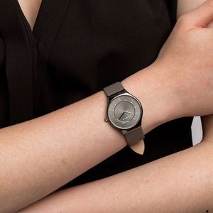 MICHAEL HILL Grey Leather Strap Watch | NWT